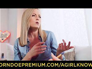 A female KNOWS - sumptuous sapphic blondes fuck stick act