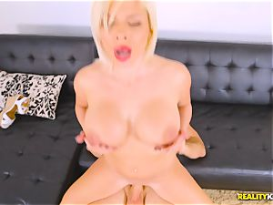 introducing a big penis to the lips of Sara St Clair