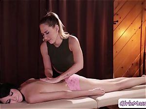 massagist Carter Cruise puts yoni eggs Cadey Mercurys vagina and licks it