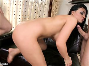 Aletta Ocean jism on face after a yummy 3some