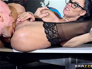enormous breasted Peta Jensen drilled across the boardroom table