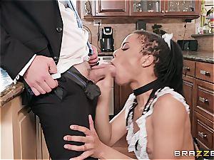 hot dark-hued maid nearly get caught