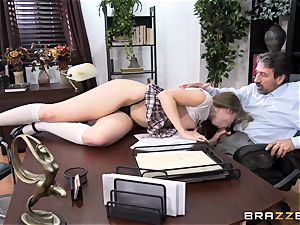 horny college girl Lena Paul ravaged by headmaster