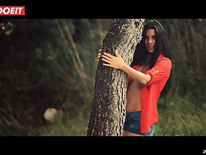 LETSDOEIT - horny dark-haired Caught Running in the forest