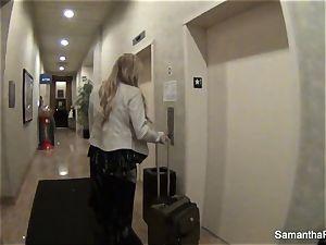 Behind the sequences with platinum-blonde porn industry star Samantha Saint