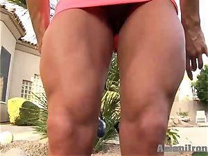 ash-blonde strong femmes fuck sticks while she flex's for you