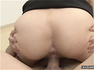 pummeling the stunner who is in a doggy style pose