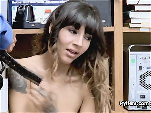 penetrating tatted nubile thief at the office