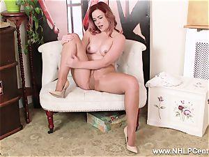 English redhead rips open shining naked stockings to jack