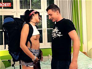 LETSDOEIT - crazy Traveler tears up fortunate German In Hostel