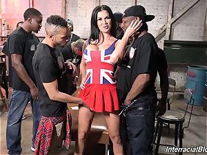 The crowd of blacks boinking huge-boobed porn industry star Jasmine Jae with flawless assets