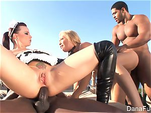 honeys Dana and Brooke have a xxx multiracial four way