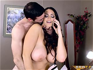 hefty breasted Alison Tyler plows her lover as she speaks to her guy