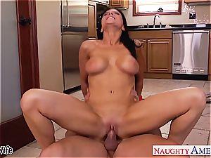 naughty Romi Rain takes his member deep inside her