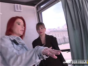steaming Ava Courcelles and Julie Share hump playthings in public