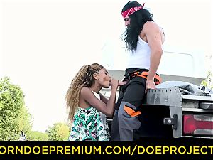 BROKEDOWN honies - hot Luna Corazon pounds truck driver