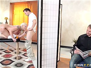 Leya Falcon cheats with her fat dicked masseuse