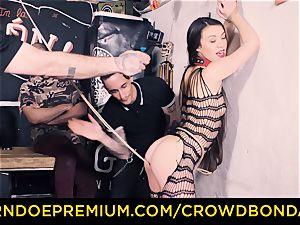 CROWD bondage - Tiffany gal gets slapped in bdsm poke