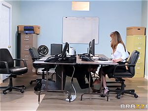 messy office babe Dillion Harper gets shafted at work