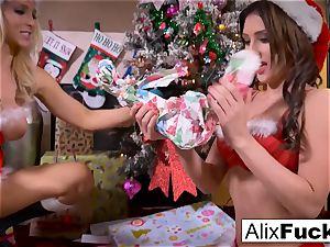 Christmas lezzy fucky-fucky inbetween 2 molten dolls